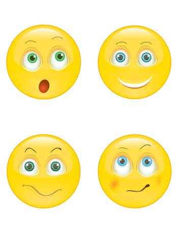 set of smiley icons with different face expression Ilustracja