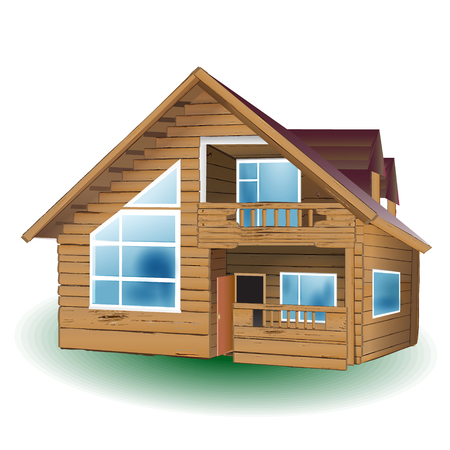 Wooden house on white background, vector illustration.