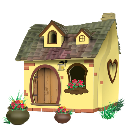 Vector illustratie van een klein sprookje huis met pannendak