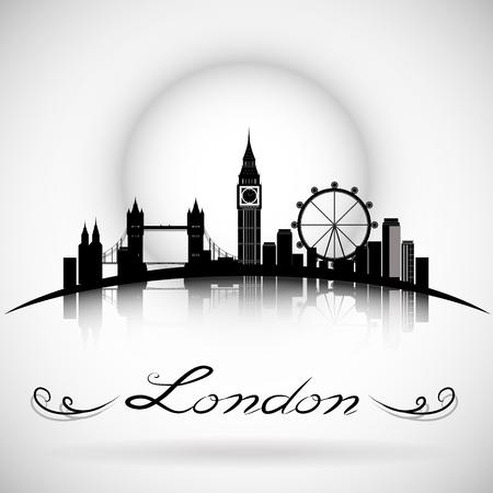 인쇄상의 디자인과 런던 시티 스카이 라인. eps10 벡터 스톡 콘텐츠 - 90421232