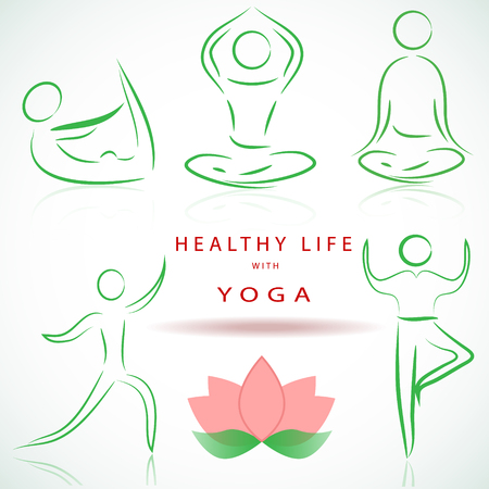 Yoga positions silhouettes illustration.