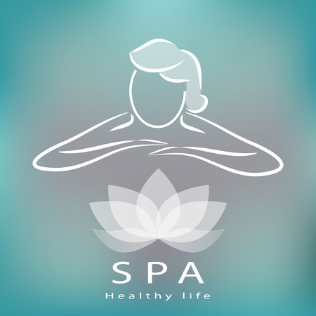 Spa icon, silhouette with position of rest and relaxation illustration.