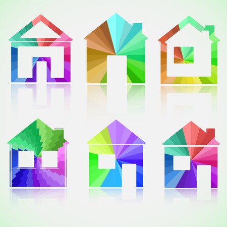Colored house icons with reflection.