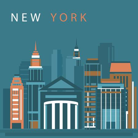 New York city vector illustration. Skyline city silhouette.