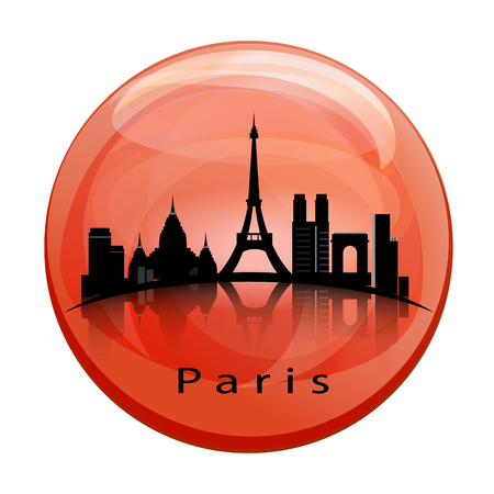 Paris City skyline with reflection in the globe.
