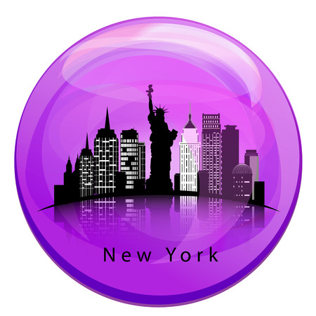 New York City skyline with reflection in the globe. Illustration