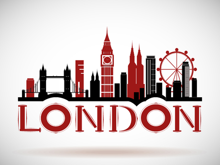 London City skyline icon. Çizim