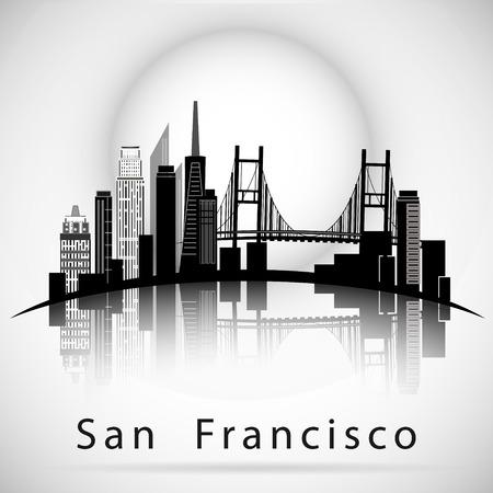 샌프란시스코 도시 스카이 라인 실루엣