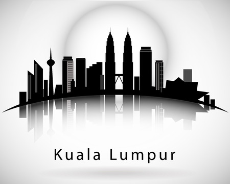 Modern Kuala Lumpur City Skyline Design Vettoriali