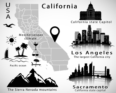 California state vector set: city skylines, icons, map, flag Illustration