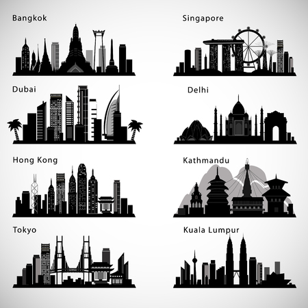 Asian Cities skyline set. Vector silhouettes