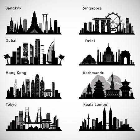Ensemble de skyline villes asiatiques. Silhouettes de vecteur Banque d'images - 91613145