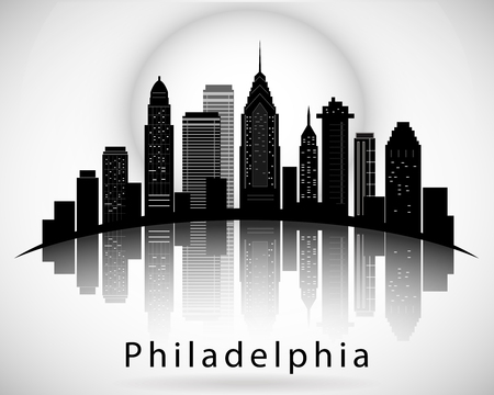 Philadelphia silhouette, Pennsylvania. City skyline