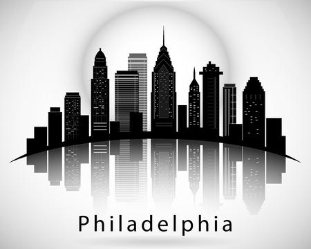 Sagoma di Philadelphia, in Pennsylvania. Skyline della città Archivio Fotografico - 91613146