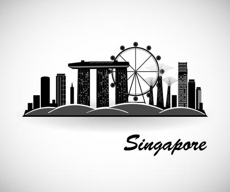 Singapore Skyline Design Archivio Fotografico - 91613148