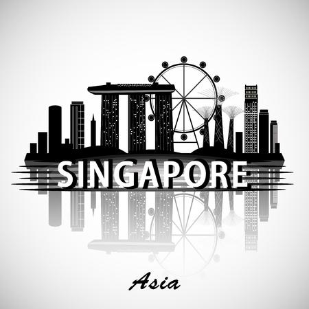 Modern Singapore City Skyline Design 矢量图片