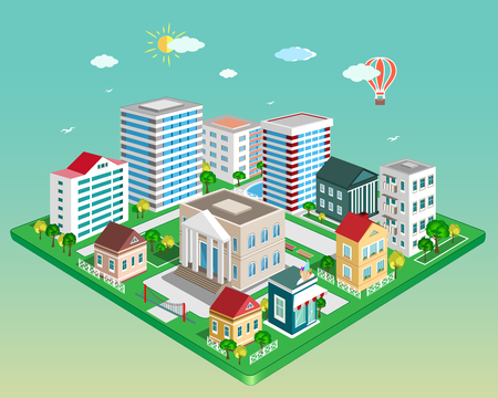 Detailed Flat 3d isometric city vector illustration. Illustration