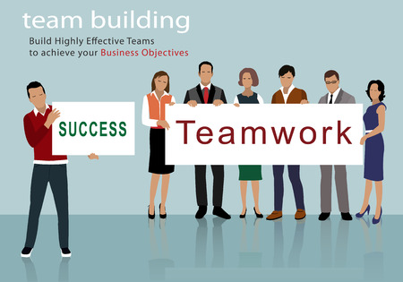 Flat design of business people group holding posters. Teamwork