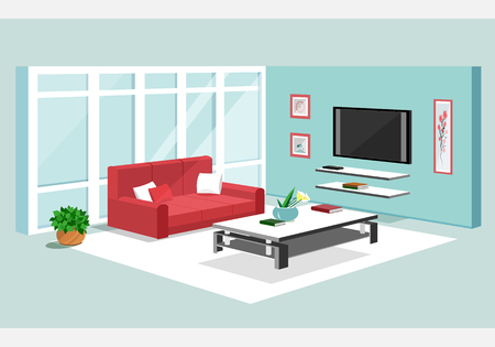 3d isometric design of apartment. Vecto illustration of Modern isometric living room interior
