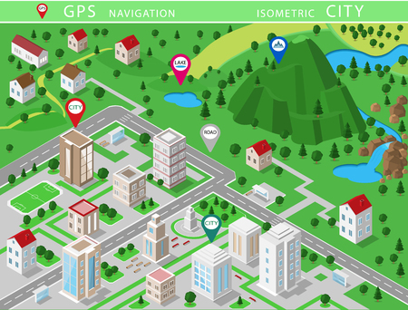 Isometric landscapes with city buildings, village, roads, parks, plains, hills, mountains, lakes, rivers and waterfall. Set of detailed city buildings. 3d isometric map with gps navigation 스톡 콘텐츠 - 101820580