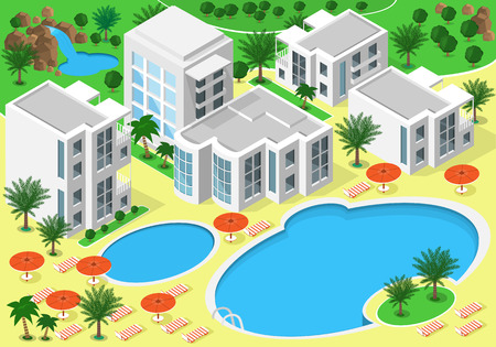 Isometric landscape of luxury beachfront hotel with swimming pools for summer rest. Set of detailed buildings, lakes, waterfall, beach with palms