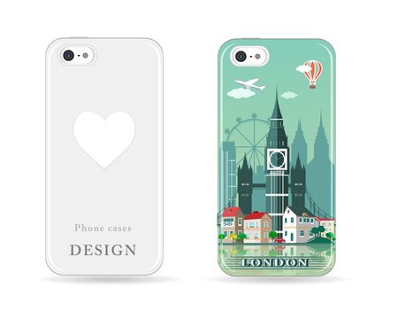 Phone case design with colored print. Modern London city skyline pattern with flat style design for cases isolated vector illustration
