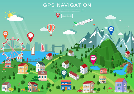 Landscape with buildings, parks, plains, hills, mountains, lakes and rivers. Set of detailed buildings with different perspective. Flat style map with isometric elemets and gps navigation