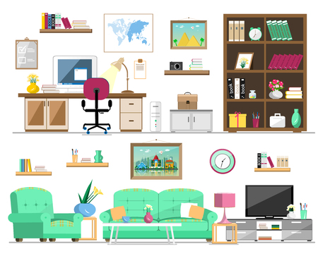 Flat style set of home furniture: bookcase, sofa, armchair, pictures, tv, lamp, computer, table, flowers, clock, shelves. Interior design isolated vector illustration. Stock Illustratie