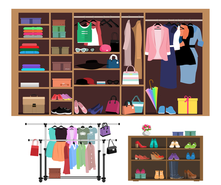 Flat style concept of wardrobe for women. Stylish closet with fashion women's clothes, shoes and bags. Set of hangers with clothes isolated vector illustration
