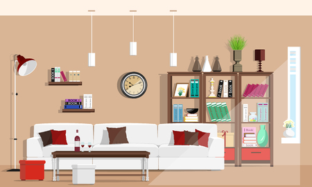 Cool graphic living room interior design with furniture: sofa, chairs, bookcase, table, lamps. Flat style vector illustration. Stock Illustratie