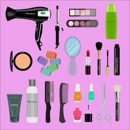 Set of professional cosmetics, various beauty tools and products: hairdryer, mirror, make-up brushes, shadows, lipstick, nail polishes, creams, powder, scissors, combs, etc. Flat vector illustration