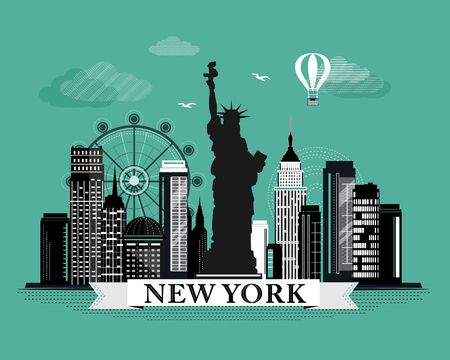 Cool graphic New York city skyline poster with retro looking detailed design elements. New York landscape with landmarks Illustration