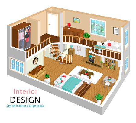 A vector illustration of a modern detailed isometric apartment interior design. 3d Isometric room interiors. Two story house with stairway.