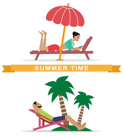conjunto de mujer joven y hombre acostado en hamacas y las personas descansan descansando en la playa. ilustración vectorial de estilo plano . Ilustración de vector