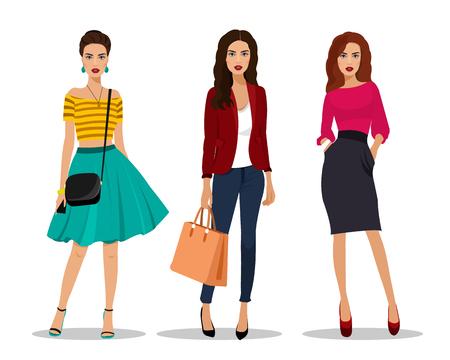 Belle giovani donne in abiti di moda. Personaggi femminili dettagliati con accessori. Illustrazione vettoriale stile piatto.