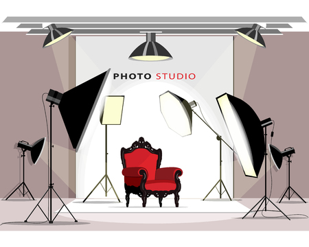 Modern photo studio interior with lighting equipment and armchair. Flat style vector illustration.