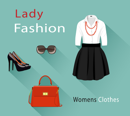 Flat design concept of fashion look. Woman clothing set with accessories. Trendy clothes objects