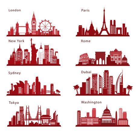 Detaillierte Städte-Skylines mit Orientierungspunkten. Vektorsilhouetten