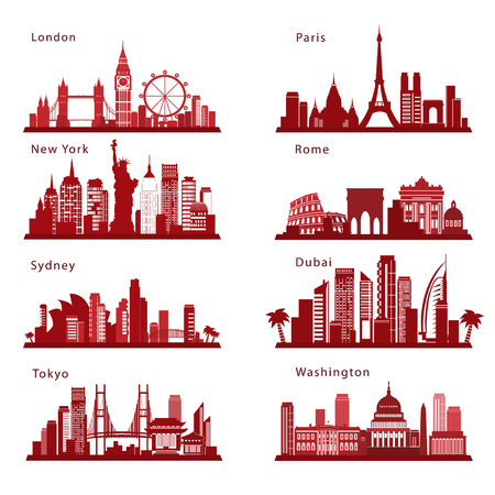 Szczegółowe panoramy miast z punktami orientacyjnymi. Sylwetki wektorów