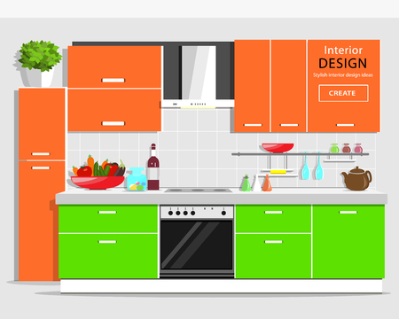 Modern graphic kitchen interior design. Colorful kitchen with furniture. Flat style kitchen and house appliances. Vector illustration.
