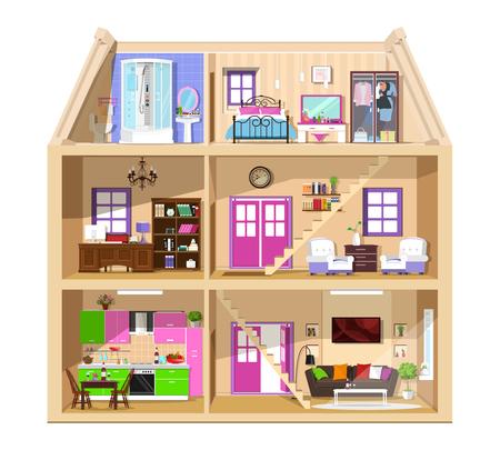 Casa linda gráfica moderna en corte. Interior de la casa vector colorido detallado. Habitaciones elegantes con muebles. Casa interior aislada.
