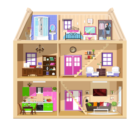 Modern graphic cute house in cut. Detailed colorful vector house interior. Stylish rooms with furniture. House inside isolated.