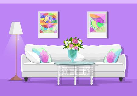 Interior gráfico lindo salón con muebles: sofá, mesa, lámpara y cuadros. Conjunto de habitación colorida. Ilustración de vector de estilo plano.