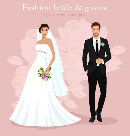 Mignon jeune couple marié: mode belle mariée avec bouquet et beau marié en costume élégant. Ensemble de mariage graphique détaillé moderne. Illustration vectorielle de style plat.