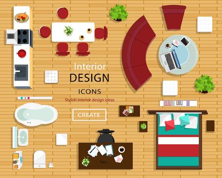 Ensemble d'icônes de meubles pour les intérieurs de pièce. Vue de dessus des icônes intérieures: canapé, chaises, table, lit, chevets, fauteuils, pots de fleurs, cuisine et salle de bain. Illustration vectorielle de style plat.