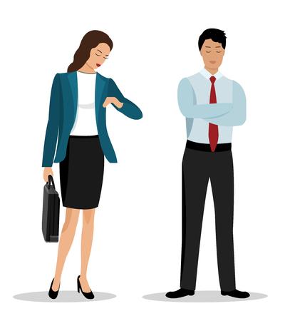 Gens d'affaires de style plat: homme d'affaires et femme d'affaires dans des vêtements élégants. Illustration vectorielle isolée.
