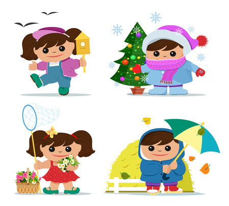 Cute little girl character during four seasons. Smiling funny girl in summer, spring, autumn and winter clothes. Flat style vector illustration.