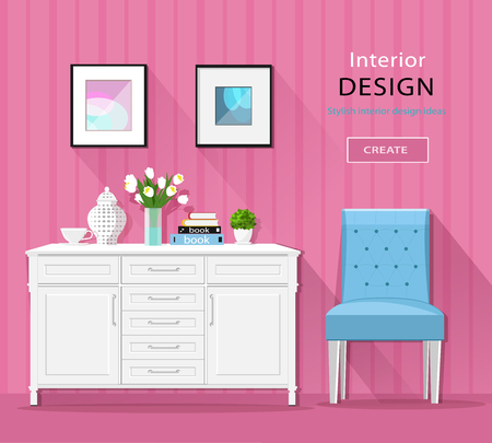 Cute stylish room interior furniture: commode, chair, pictures with long shadows. Flat style vector illustration. Ilustracje wektorowe