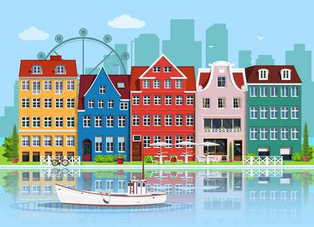 Fasady uroczych europejskich starych budynków. Szczegółowy zestaw domów graficznych. Stare miasto, odbicie wody i łódź. Ilustracja wektorowa płaski.