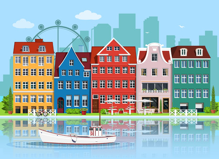Facades of cute european old buildings. Detailed graphic houses set. Old town, water reflection and boat. Flat style vector illustration. Illustration